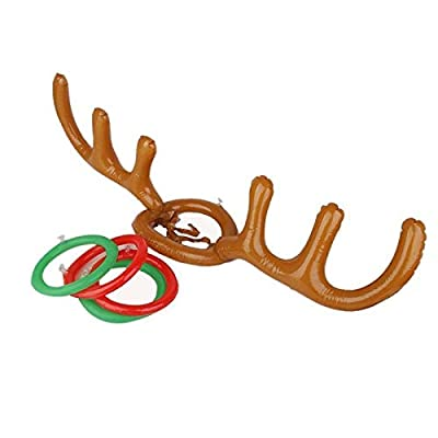 Inflatable Santa Funny Reindeer Antler Hat Ring Toss Christmas Holiday Party Game Supplies Toys: Office Products
