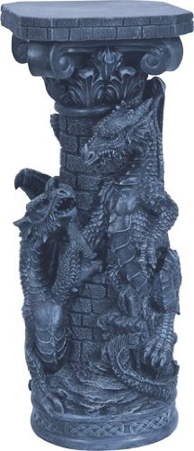 54''H Blue Dragon Fountain Lamp-Pedestal Set