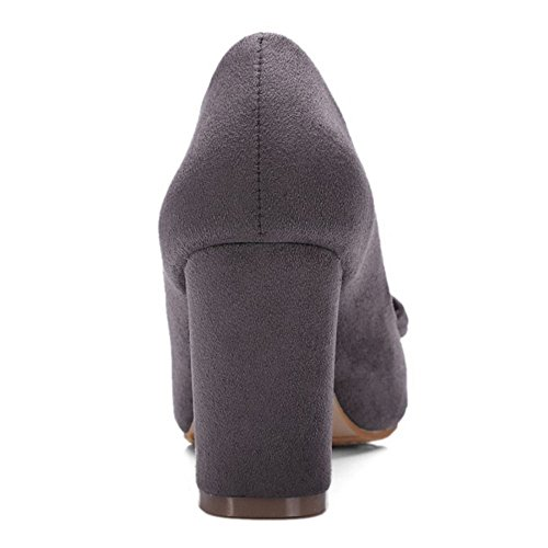 COOLCEPT Women Fashion Pointed Toe Buckle Casual Suits Court Shoes Gray 360 EEVuhWmqP
