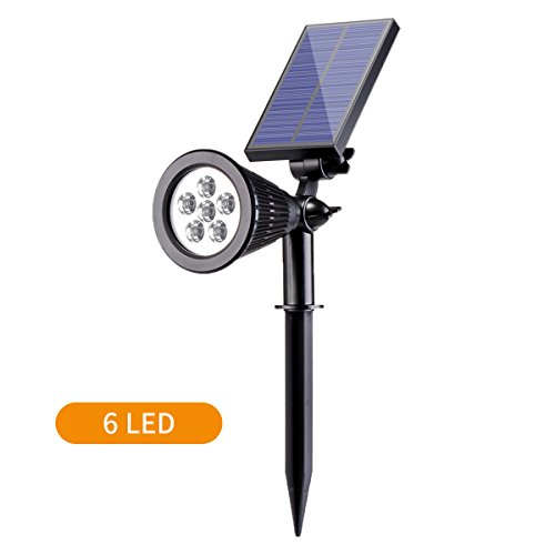 Solar Spotlight, Sunix 2-in-1 Waterproof 6 LED Solar Landscape Light Adjustable Wall Light, Dark Sensing Auto On/Off Outdoor Security Lighting for Yard Garden Driveway Pathway Pool (1 Pack)