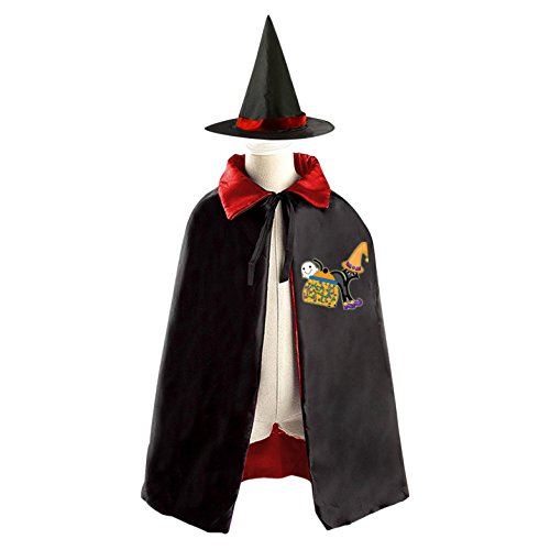 Black Cat Mage Reversible Halloween Costume Witch Cape Cloak Kid's Hat