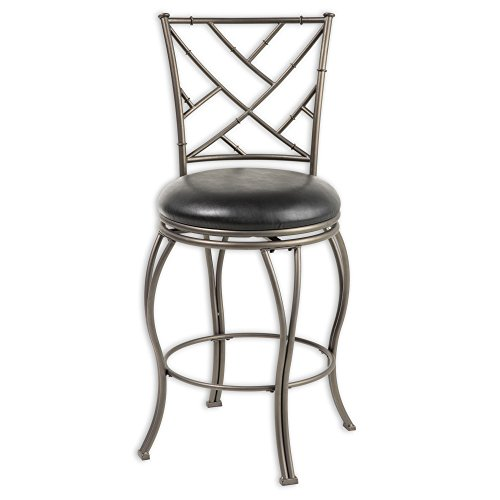 Fashion Bed Group Honolulu Swivel Seat Counter Stool with Coffee Finished Metal Frame, Sculpted Legs and Black Faux Leather Upholstery, 26-Inch Seat Height