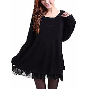 ZANZEA Femme Sweater Tricot Lâce Manche Longue Haut Pull Mini-Robe Cardigan Sweats