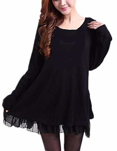 ZANZEA Womens Fashion Long Sleeve Round Neck Loose Casual Mini Dress (18 Black) -