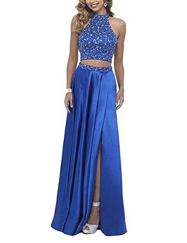Bainjinbai Festkleider Abendkleider BallKleider Blue Lang Brautjungfernkleider Royal Zwei teilig rBHqr17w