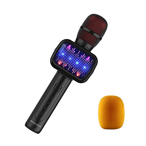 MOSOTECH 2019 Updated Bluetooth Karaoke Microphone, Speaker, Player, Recorder, Voice Changer 4-in-1 Wireless Karaoke Kids Mic with Dynamic LED Light for Home/Stage/Party ()