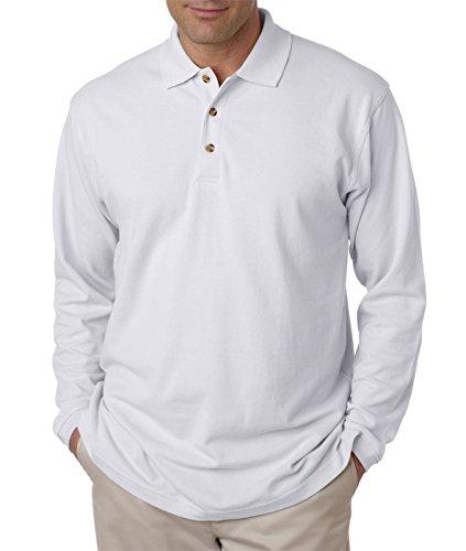 8532 UltraClub Adult Long-Sleeve Classic Piqué Polo (White) ()