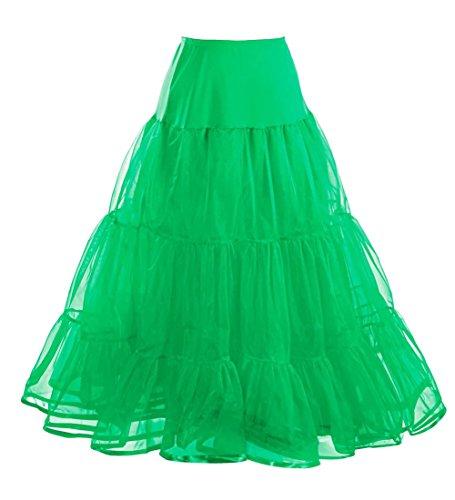 Comall Green Rockabilly Jupon 3 Petticoat 50 en Femme longueur vintage tailles 100cm choisir tulle annes xrTqxw6