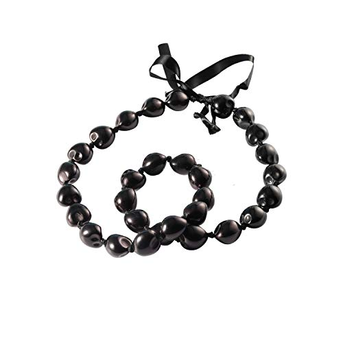 BNQL Chunky Hawaiian Kukui Nut Lei Necklace with Ribbon Bow Closure Graduation Gift (Black)