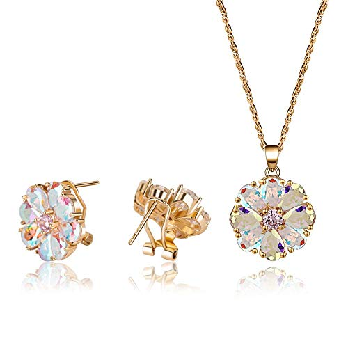 CZCITY Flower Pendant Necklaces for Women - Women's Jewelry Set for Clip Stud Earrings Necklace 18K Champaign Gold Plated, Best for Bridesmaid Gifts