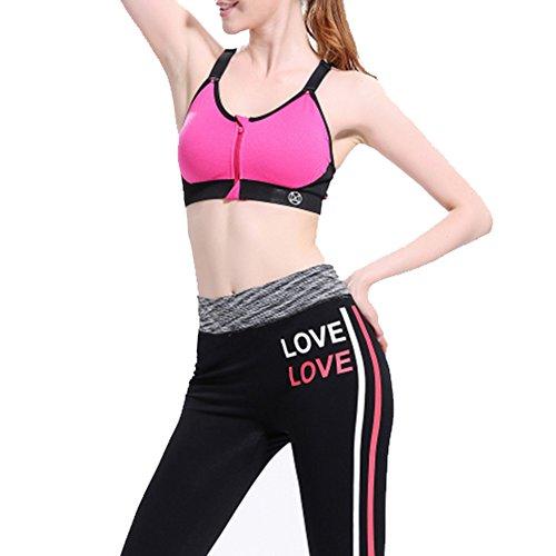 laixing Mujer Fitness de Yoga Stretch Entrenamiento Camiseta De Tirantes No Llantas espalda cruzada sujetador deportivo Rosa Roja