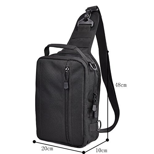 Genda 2Archer Bolso de Múltiples Funciones Durable de la Cremallera del Hombro del Bolso del Pecho de Nylon Respirable Para los Hombres (48cm * 10cm * 20cm) (Negro) Negro