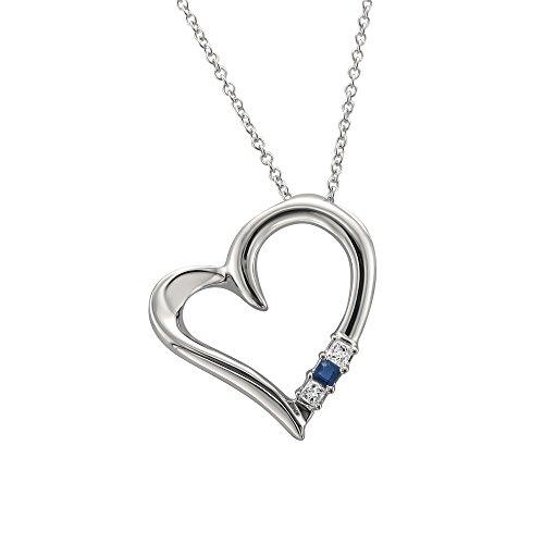 La4ve Diamonds 14k White Gold 3-Stone Princess-Cut Diamond & Sapphire Heart Pendant Necklace (1/10 cttw, H-I, - Pendant Stone 3 Princess Cut