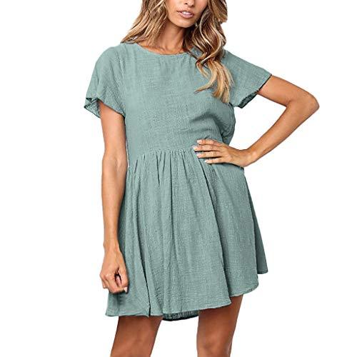 SOWU Women T-Shirt Dress Ladies Fashion Pure Color Ruffles Sleeve Pleated Hem Cotton Crewneck Pure Color Party Dress Blue