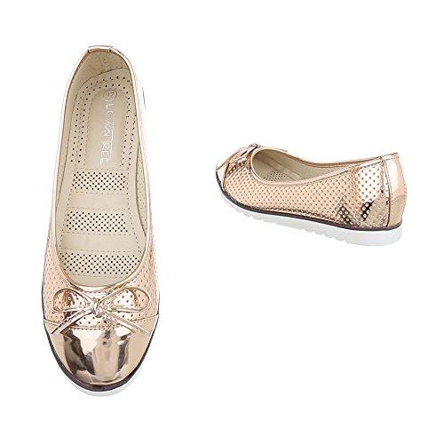 classiche Rose piatto Ballerine Ital Scarpe Ballerine da oro Design donna C6qxxwUXA