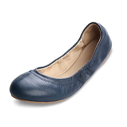 Xielong Women's Chaste Ballet Flat Lambskin Loafers Casual Ladies Shoes Leather Dark Blue 8