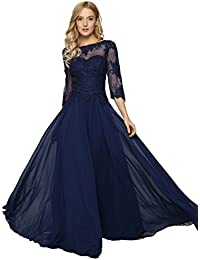 Womens Lace Appliqued Mother Of The Bride Evening Dress