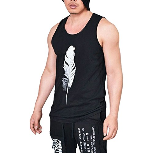 WUAI Mens Workout Tank Tops Fashion Muscle Gym Pullover Fitness Sleeveless T-Shirts Vest(Black,US Size L = Tag XL) by WUAI (Image #5)