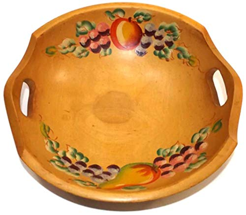 Vintage Signed Woodcroftery Handled Wood Bowl Hand-Painted Tole Fruit