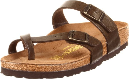 Birkenstock Women's Mayari Sandal,Golden Brown,38 EU/7-7.5 M US (Metallic Footwear Green)