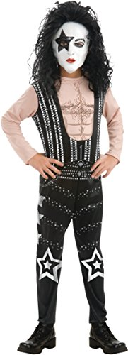 Kiss Starchild Costumes (Rubies Boys Kiss 80s Rock Star Child Costume-(Large (12-14), The Starchild))