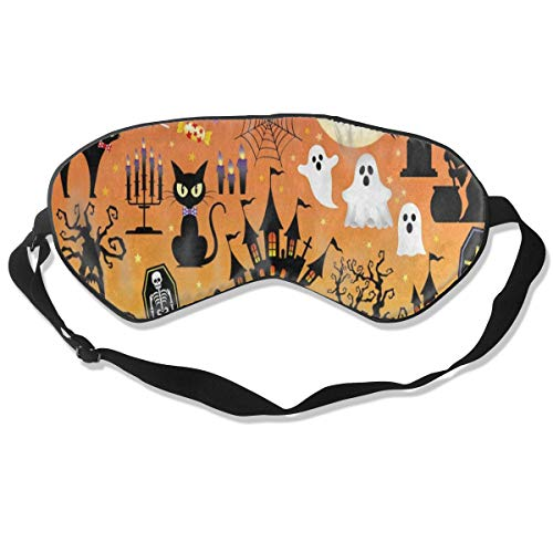 Sleep Mask Halloween Sugar Skull Owl Cat Tree Ghost Eye Mask Cover with Adjustable Strap Eyemask for Travel, Nap, Meditation, Blindfold -