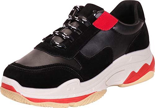 Cambridge Select Women's Retro 90s Ugly Dad Lace-Up Chunky Platform Fashion Sneaker,6.5 B(M) US,Black