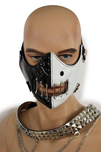 90s Horror Costumes (TFJ Men Mouth Muzzel Halloween Half Face Hannibal Mask S&m Costume Scary Black White)