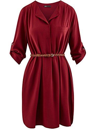 Viscosa 4900n Rosso Cintura Ultra con Donna oodji Abito in 0wx8fU7Iq