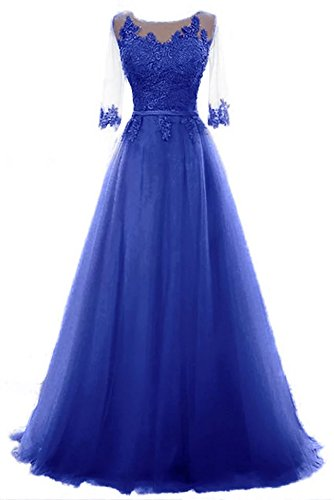 Party Lace Tuell Ladies Gown Ball A da Line Vickyben Blue Trim d'onore da sera Cocktail Long Abito damigella Princess PXN08Onkw