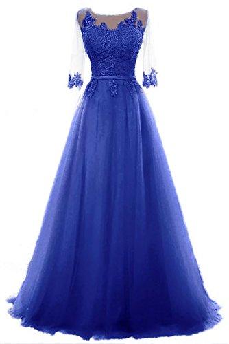 Ballkleid Damen Schnuerung Cocktail Blau brautjungfer Party langes Tuell Abendkleid A kleid Prinzessin Vickyben Linie xaIZd88