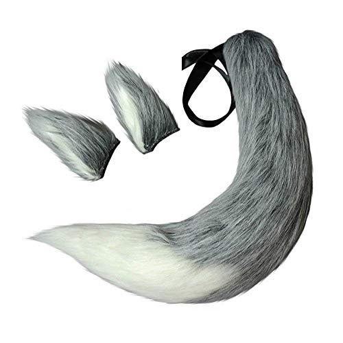 Wolf Fox Tail and Clip Ears Kit for Children or Adult Halloween, Christmas, Fancy Party Costume Accessories Xmas Toys Gift (Grey White)