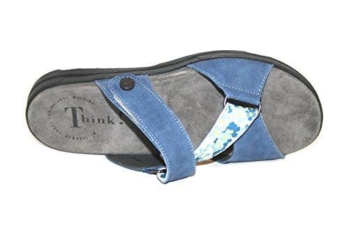 Think! - Zuecos de Piel para mujer - Blau (CAPRI/KOMBI 84)
