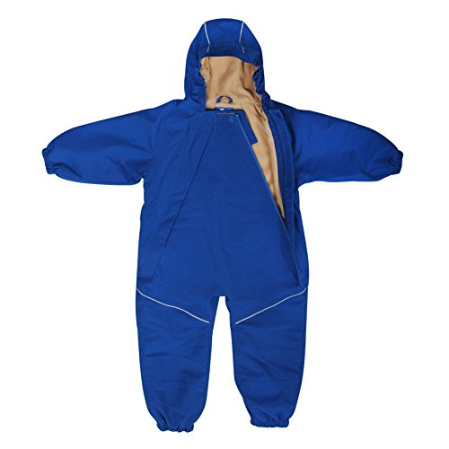 Kids Water-Proof Fleece-Lined Rain Suit One-Piece Hooded (Navy,3T)