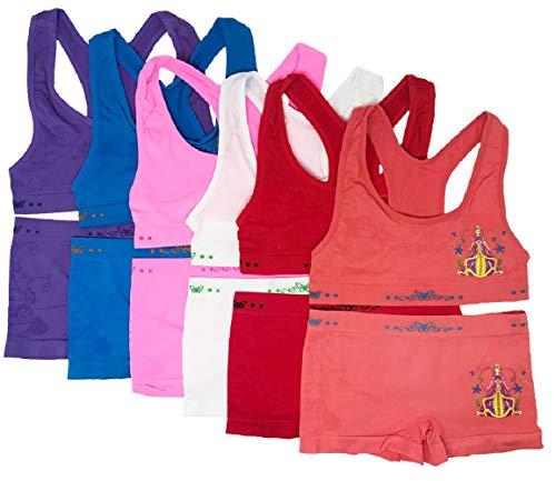 I&S Girl's Razorback Bras & Matching Seamless Bikinis or Boyshorts - Pack of 6 Sets (Small, Love Princess)