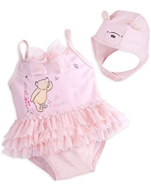 Winnie The Pooh Layette Bathing Suit and Swim Cap Set for Baby Pink