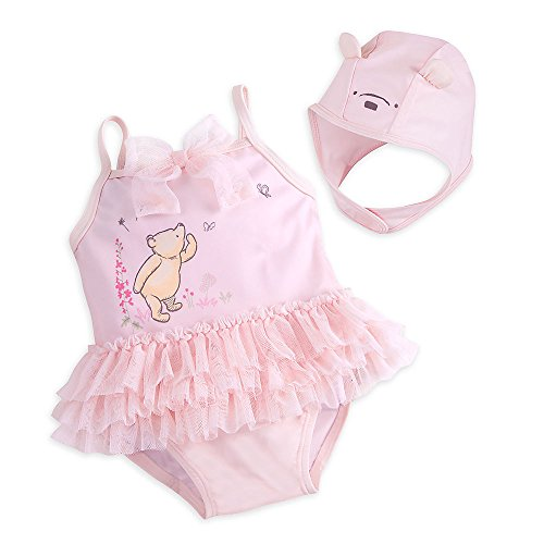 Disney Winnie The Pooh Layette Bathing Suit and Swim Cap Set for Baby Size 18-24 MO Pink