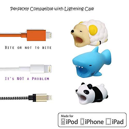 Goodgoodstuday Cable Bite Charging USB Cable Protector Cute Animal Data Cord Saver Phone Accessory (Sheep+Panda+Shark Blue)