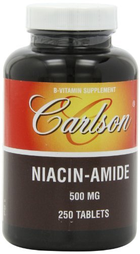 Carlson Labs Niacin-Amide, 500mg, 250 Tablets (Pack of 3) by Carlson Laboratories