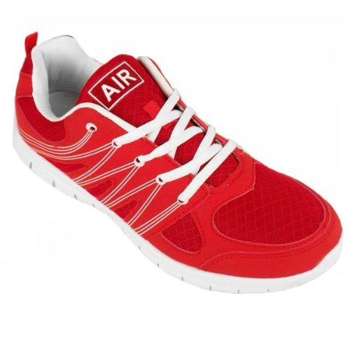 Herren Stoßdämpfende Laufschuhe Jogging Fitnessstudio Turnschuhe Schuhe UK 7-12 Rouge - Red / White