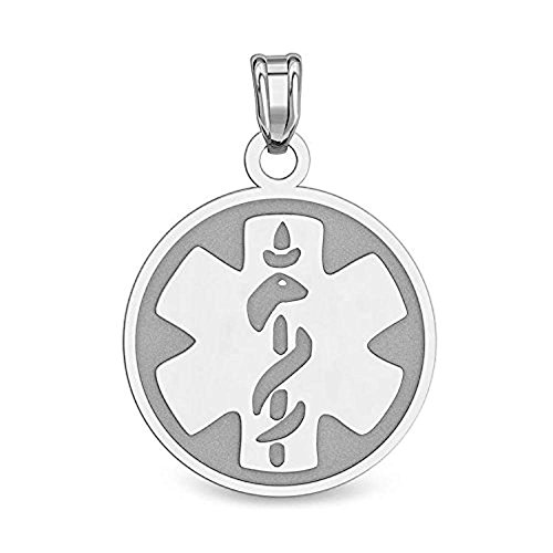 PicturesOnGold.com Sterling Silver Round Medical ID Charm or Pendant - 1 Inch X 1 Inch with Engraving