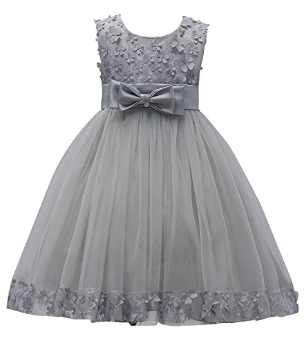Girl Ball Gown Dress for Wedding Formal Size 1-2 Years Toddler Knee Length Lace Petal Flower Girl Dresses for Girls Size 24 Months Special Occasion Princess Party Birthday Dress (Grey, 3)
