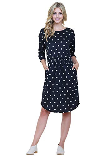 Riah Fashion French Terry Drawstring Tie Waist Polka Dot Slouchy Midi Dress - Casual Belted Shift Dress|XSmall-3X Plus Size (X-Large, ()