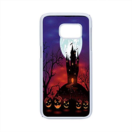 Cell Phone Case Compatible Samsung Galaxy S7,Halloween Decorations - Hard Plastic Phone Case/White - Gothic Haunted House Castle Hill Valley Night Sky October Festival Theme]()