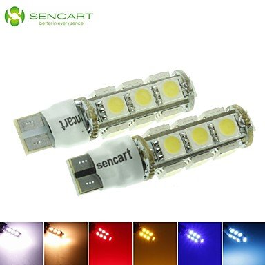 T10 149 W5W 3.5W 2-Mode Blue/Red/Warm White/Green/Yellow/White 13X5050SMD LED 140LM for Car Light Bulb (DC12-16V) , light (16v Brake)