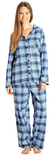 EVERDREAM Sleepwear Womens Flannel Pajamas, Long 100% Cotton Pj Set,Size XXX-Large Blue - Long Lightweight 100% Cotton