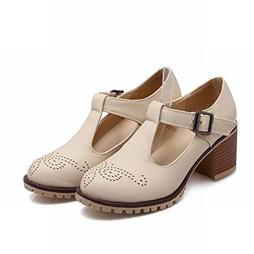 Carolbar Women's Charm Fashion Hollow Pattern Mid Heel Buckle Court Shoes Beige sy4X6m