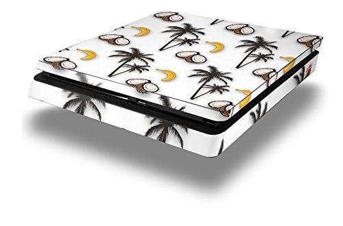 Banana 3 Production Case - WraptorSkinz PS4 Slim Skin Wrap Coconuts Palm Trees and Bananas White - Decal Style Skin fits Sony PlayStation 4 Slim Console