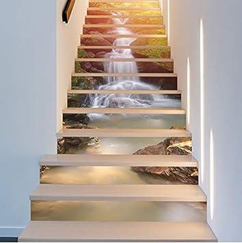 Meaosyy 18 * 100 Cm 13 Unids Diy Creativo Sol Cascada Cascada Calcomanía Para Escaleras 3D Vinilo Impermeable Escalera Etiqueta Decoración Del Hogar Del Cartel: Amazon.es: Bricolaje y herramientas