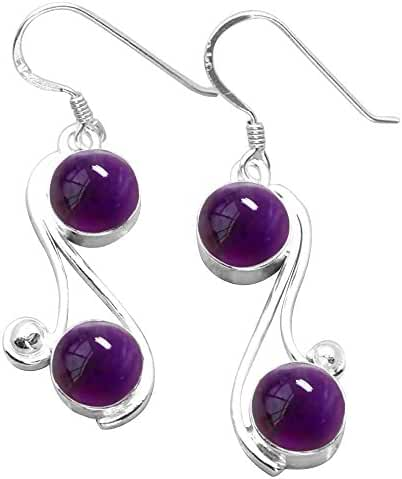 8.00ctw Genuine & Created Gemstone & 925 Silver Plated Dangle Earrings Made By Sterling Silver Jewelry